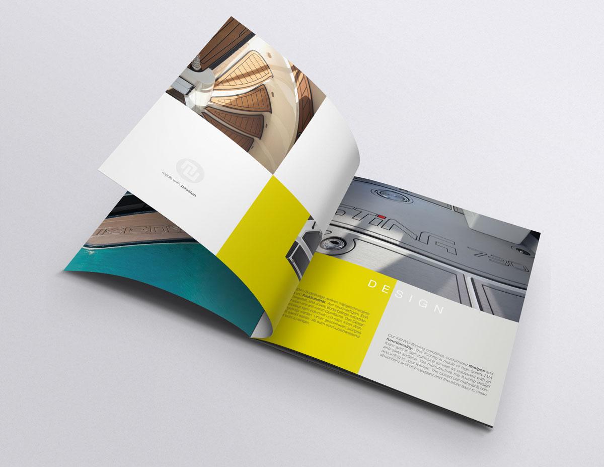 Modern gestaltete Imagebroschüre im Quadratformat